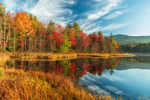 Brilliant Fall Foliage along Shoreline of Perkins Pond, Mt. Monadnock in Background, View from Troy, NH