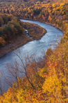 Evening Light on Fall Foliage along Delaware River, View from Hawk's Nest Overlook, Upper Delaware National Scenic and Recreational River, Upper Delaware Scenic Byway, Deerpark, NY