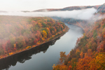 Early Morning Fog along Delaware River in Fall, View from Hawk's Nest Overlook, Upper Delaware National Scenic and Recreational River, Upper Delaware Scenic Byway, Deerpark, NY
