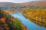 Morning Light on Fall Foliage along Delaware River, View from Hawk's Nest Overlook, Upper Delaware National Scenic and Recreational River, Upper Delaware Scenic Byway, Deerpark, NY