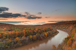 Sunset over Delaware River in Fall, View from Hawk's Nest Overlook, Upper Delaware National Scenic and Recreational River, Upper Delaware Scenic Byway, Deerpark, NY
