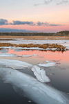 Sunrise over Marshes and Herring River in Winter, Cape Cod, West Harwich, MA