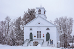 West Rindge United Methodist Church and Vineyard Christian Church in Winter, Rindge, NH