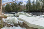 Thick Ice Slabs on Shoreline of Millers River in Winter, near Bearsden Conservation Area, Athol, MA