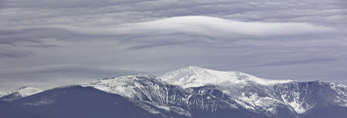 Lenticular Cloud over Mount Washington and White Mountain National Forest in Winter, View from Jackson, NH