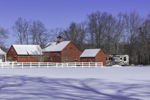 Red Barns after Fresh Snowfall in Winter, Coventry, CT