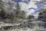 Pond Brook and Woodlands in Winter after Fresh Snowfall, Fitzwilliam, NH