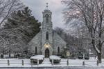 Early Morning at Saint Joseph's Roman Catholic Church in Winter, Built 1862, Stockbridge, MA