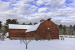 Big Red Barn in Winter after Fresh Snowfall, Berkshire Mountains, Great Barrington, MA