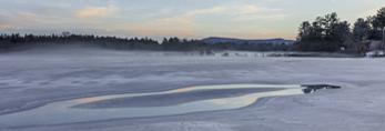Sunset over Frozen Field in Winter, Swanzey, NH