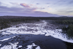 Aerial View of Sunset over Lawrence Brook with Bordering Wetlands and Forests in Winter, Royalston, MA