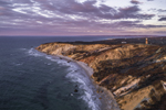 Aerial View of Gay Head Cliffs and Lighthouse at Sunset, Martha's Vineyard, Aquinnah, MA