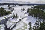 Aerial View of Tully Lake Frozen over in Winter, Royalston, MA