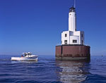 Cleveland East Ledge Light and Lobster Boat, Buzzards Bay