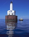Cleveland East Ledge Light and Patrol Boat, Buzzards Bay