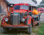 Old International Truck with Pumpkins at Stowe Maple Products in Fall, Route 100, Stowe, VT