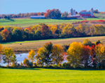 Colorful Foliage in Farm Country in Fall, Hudson River Valley, Schaghticoke, NY