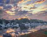 Shrimp Boat Fleet on Darien River at Sunrise, Darien, GA