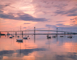 Early Morning Calm at Sunrise in Jamestown Harbor at Newport Bridge, Jamestown, RI