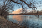 Cloud Reflections at Sunset on Delaware River, Delaware Water Gap National Recreation Area, Lehman, PA