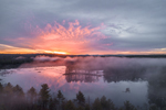 Aerial View of Dramatic Sunrise and Fog at Royalston Eagle Reserve, Royalston, MA