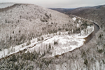 Aerial View of Deerfield River and Green Mountain National Forest after Light Snowfall, Searsburg, VT