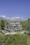 Aerial View of Gillette Castle in Spring, Gillette Castle State Park, Lyme and East Haddam, CT