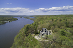 Aerial View of Gillette Castle and Connecticut River in Spring, Gillette Castle State Park, Lyme and East Haddam, CT