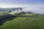 Aerial View of Early Morning Ground Fog over Fields at Hewitt Farm in Early Spring, North Stonington, CT