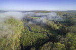 Aerial View of Early Morning Ground Fog over Wetlands and Shunock River at Hewitt Farm in Early Spring, North Stonington, CT