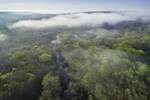 Aerial View of Early Morning Ground Fog over Forests and Shunock River at Hewitt Farm in Early Spring, North Stonington, CT