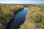 Aerial View of Spalding Pond and Forests in Early Spring at The Samuel Cote Preserve, North Stonington, CT