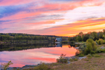 Colorful Sunset at Wachusett Reservoir at Old Stone Church Historic Site in Spring, West Boylston, MA
