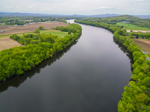 Aerial View of Farmlands along Connecticut River at Alexandra Dawson Conservation Area, Hadley, MA