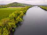 Aerial View of Connecticut River in Spring with Mount Sugarloaf in Background, Sunderland, MA