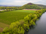 Aerial View of Farm Fields along Connecticut River in Spring with Mount Sugarloaf in Background, Sunderland, MA