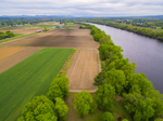 Aerial View of Farm Fields along Connecticut River in Spring, Sunderland, MA