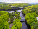 French King Bridge at Millers River Confluence with Connecticut River in Spring, Erving and Gill, MA