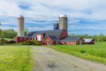Big Red Barn with Silos in Spring, Hudson Valley, Columbia County, Ancram, NY