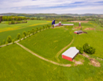 Aerial View of Barns and Fields at Hiddenhurst Farm, Village of Millerton, Town of North East, NY