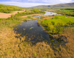 Aerial View of Farm Fields and Wetlands in Spring, Duchess County, Village of Millerton, Town of North East, NY