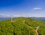 Aerial View of Wind Turbines on Partridge Peak, Part of Record Hill Wind Project, Roxbury, ME