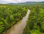 Aerial View of Swift River in Spring, White Mountain National Forest, Albany, NH