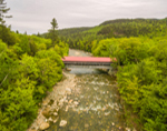 Aerial View of Albany Covered Bridge Spanning Swift River, White Mountains Region, Albany NH