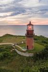Aerial View of Gay Head Lighthouse at Sunset, Martha's Vineyard, Aquinnah, MA