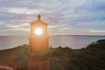 Close Up Aerial View of Lantern on Gay Head Lighthouse at Sunset, Martha's Vineyard, Aquinnah, MA