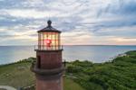 Close Up Aerial View of Lantern on Gay Head Lighthouse at Sunset, Martha's Vineyard, Aquinnah, MA