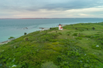 Aerial View of Tarpaulin Cove Lighthouse in Evening Light, Naushon Island, Elizabeth Islands, Town of Gosnold, MA