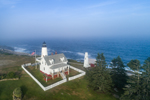 Aerial View of Pemaquid Point Lighthouse with Fog Bank in Background, Pemaquid Point, New Harbor, Town of Bristol, ME