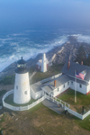 Aerial View of Pemaquid Point Lighthouse and Fog on Muscongus Bay, Pemaquid Point, New Harbor, Town of Bristol, ME